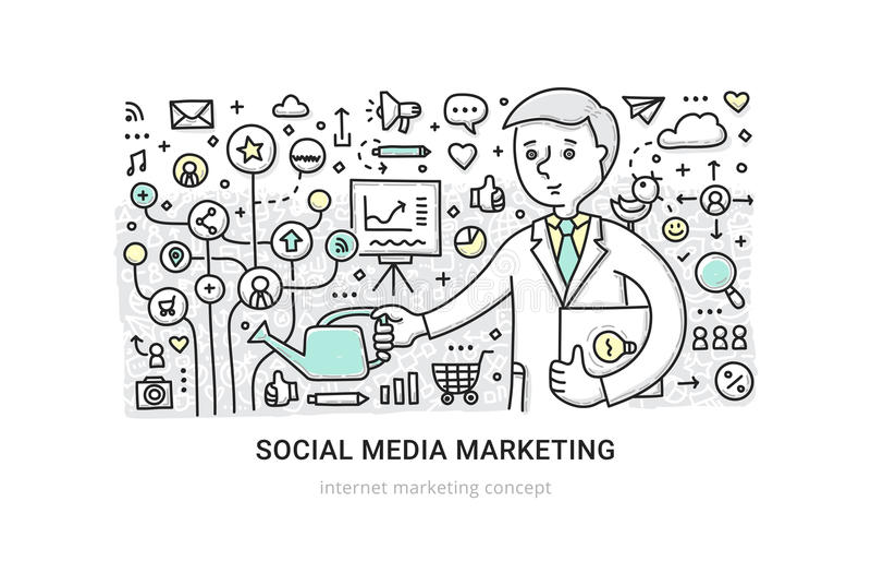Media sociales que ponen concepto ilustración del vector