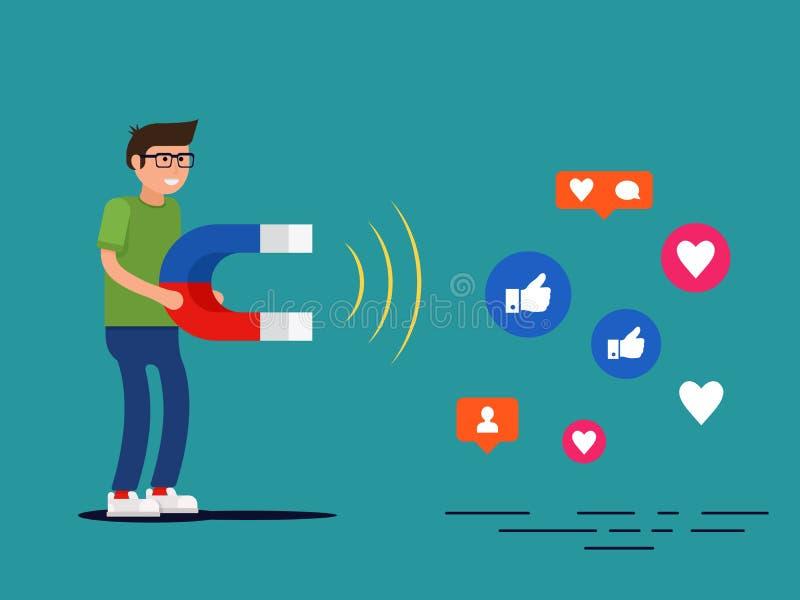 Media sociales que ponen concepto Empollón joven que atrae gustos con un imán enorme ilustración del vector