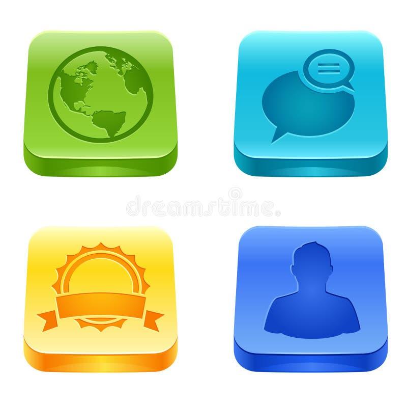 Media sociales y botones del Web stock de ilustración