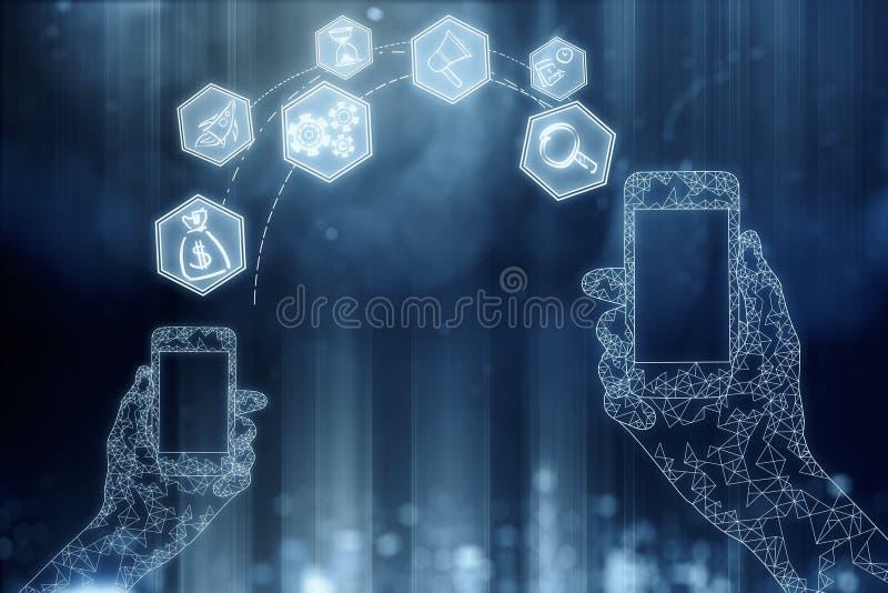 Media sociali, attività bancarie online, concetto futuro illustrazione vettoriale
