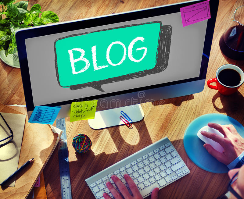 Media sociali che collegano concetto del contenuto di comunicazione del blog immagine stock