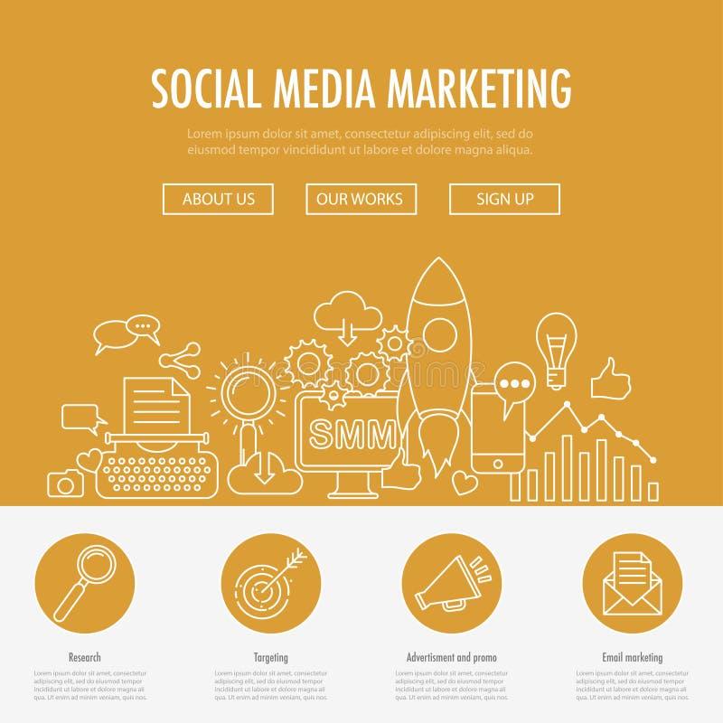Media sociali che commercializzano atterraggio illustrazione vettoriale