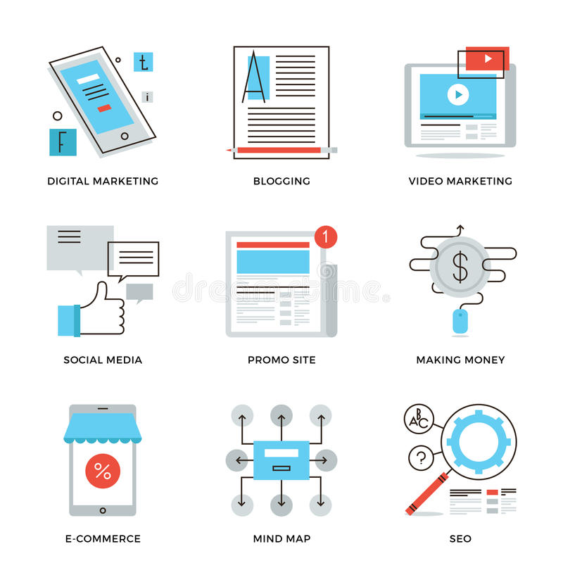 Media sociali che commercializzano linea icone messe illustrazione di stock