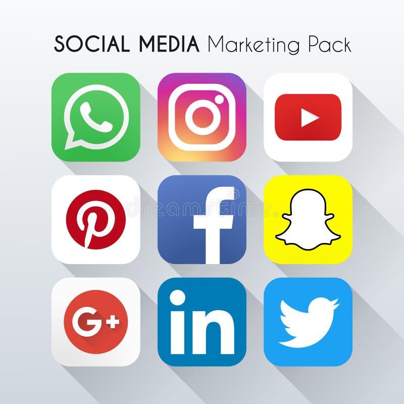Media sociali che commercializzano pacchetto Bella progettazione di colore per il sito Web, modello, insegna royalty illustrazione gratis