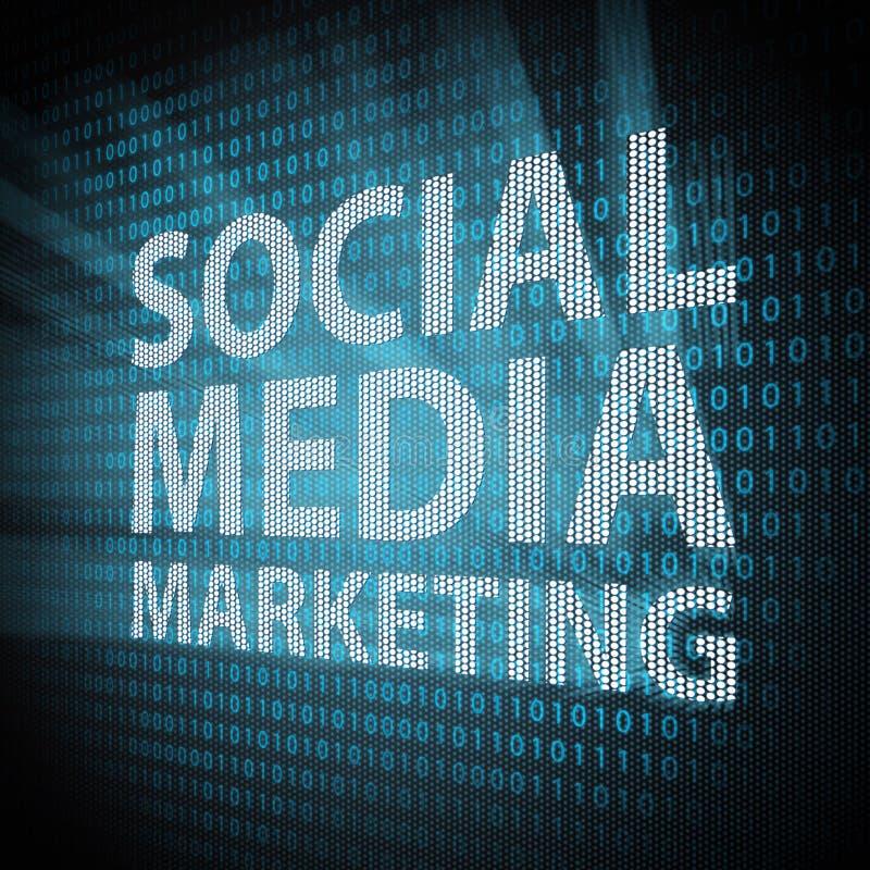 Media sociali che introducono concetto sul mercato illustrazione vettoriale