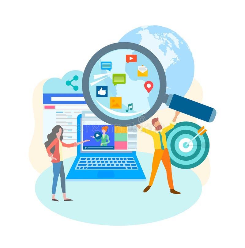 Media sociali che introducono concetto sul mercato Video blogging illustrazione di stock