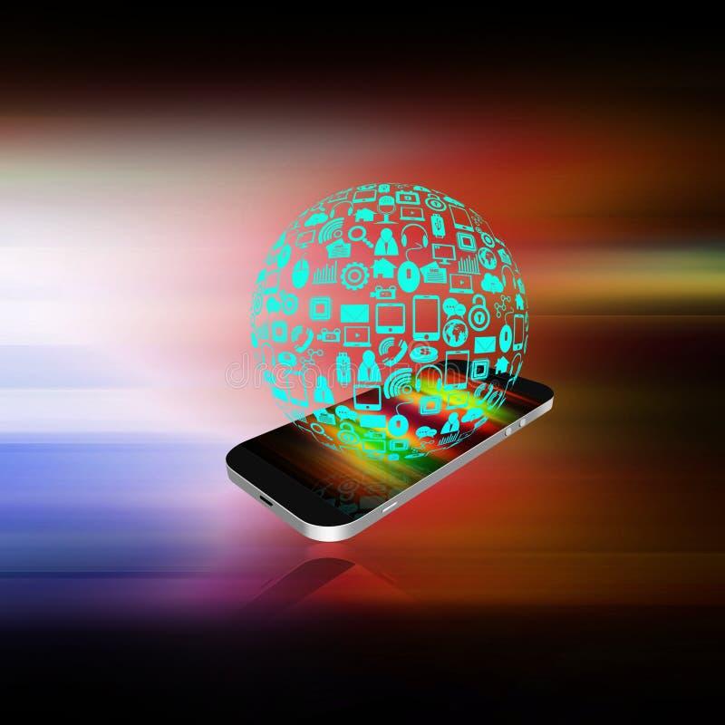 Media sociali con il telefono cellulare su fondo astratto illustrazione vettoriale
