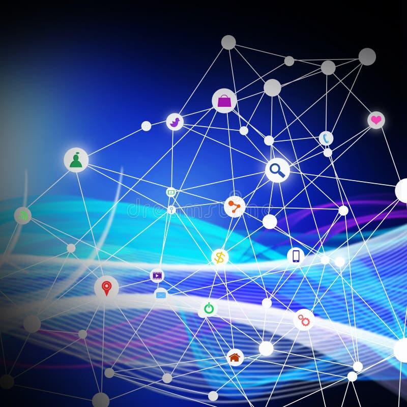 Media sociali con tecnologia di telecomunicazione, sulla parte posteriore dell'estratto illustrazione vettoriale