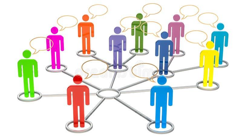 Media sociali, concetto di comunicazione della rete rappresentazione 3d illustrazione vettoriale