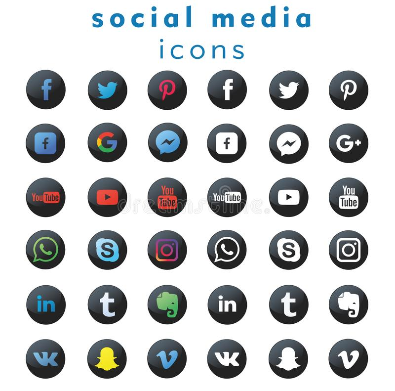 36 media sociali ( delle nuove logo-icone; vector) illustrazione vettoriale