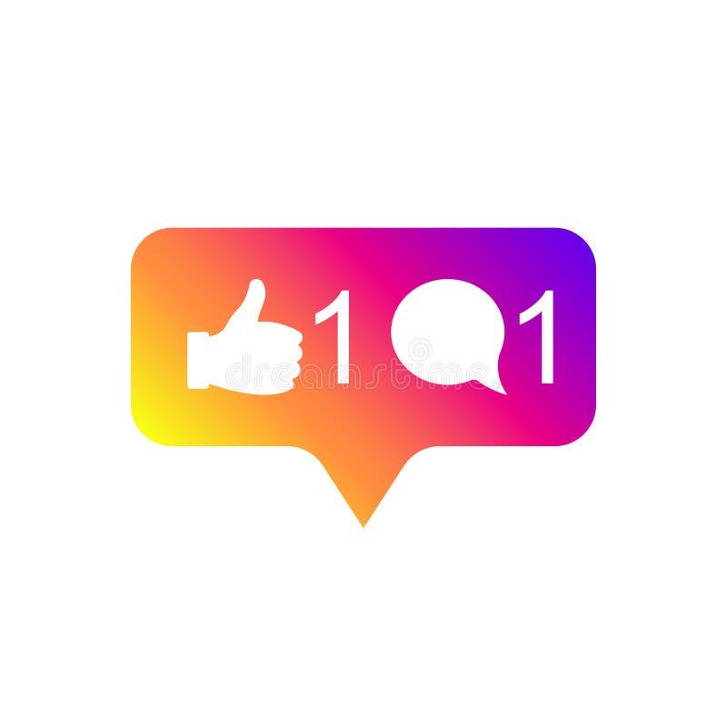 Media sociali moderni come 1, commento 1, colore di pendenza Simile, seguace, bottone, icona, simbolo, ui, app, web Vettore illustrazione vettoriale