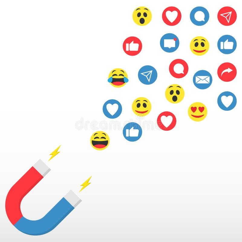 Media sociali Pubblico, cliente e pubblico d'aggancio Conservazione magnetica dell'introduzione sul mercato online di media socia illustrazione vettoriale