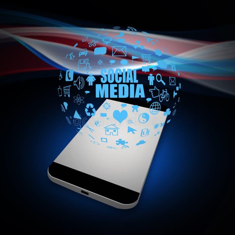 Media sociali sul telefono cellulare, illustrazione del telefono cellulare illustrazione di stock