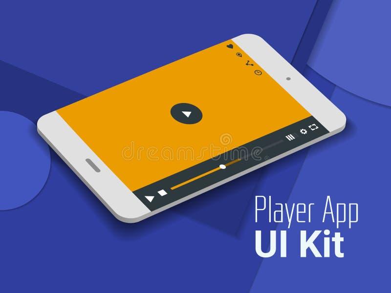 Media speler mobiel app UI smartphonemodel royalty-vrije illustratie