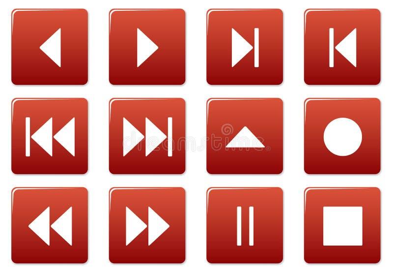 Media square icons set. stock illustration