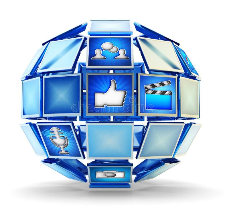 Media technologie, het de online mededeling van Internet en concept van het telecommunicatienetwerk vector illustratie