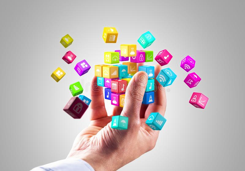 Media technology and internet networking web communication concept- Colorful icon cubes stock illustration