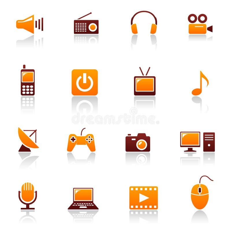 Media & telecom icons royalty free illustration