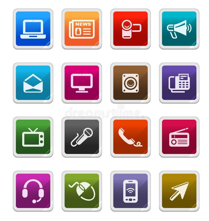Media u. Kommunikations-Ikonen 1 - Aufkleberserie stock abbildung