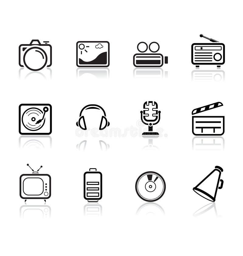 Media und Musikikonen | einfache Serie lizenzfreie abbildung