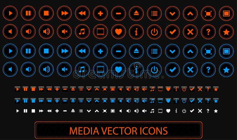 Media Vector Icons royalty free stock images