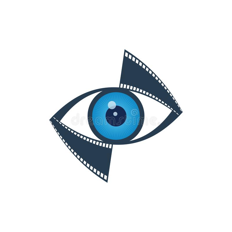 Media and vision icon. Blue eye and film strip on white background. Media and vision icon stock illustration