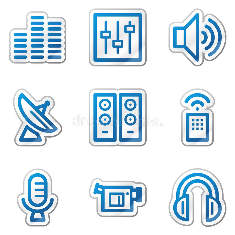 Media web icons, blue contour sticker series. Vector web icons. Easy to edit, scale and colorize vector illustration