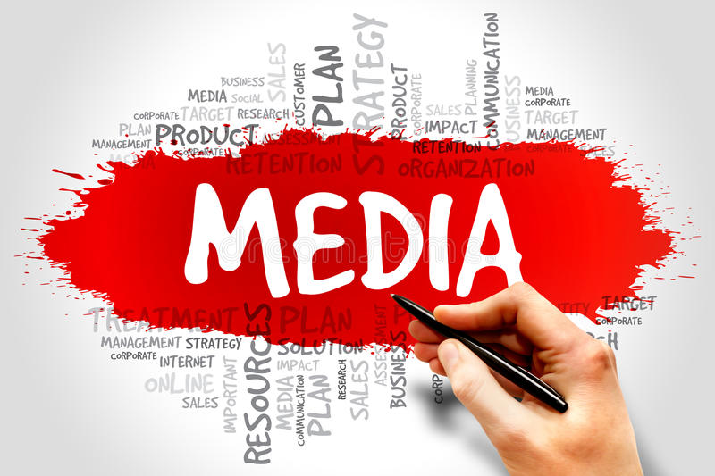 Media. Word cloud, business concept royalty free stock photo