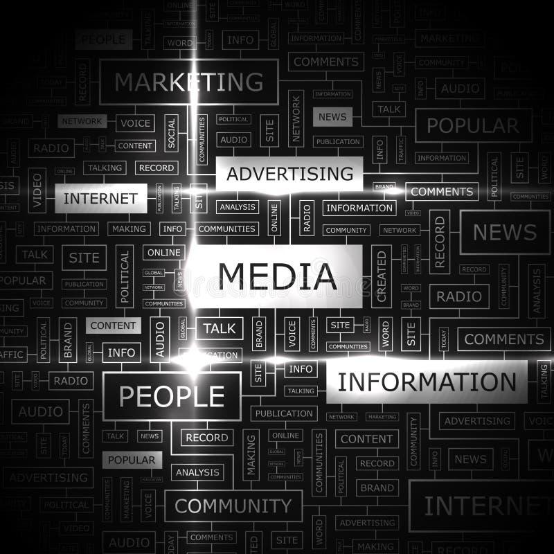 MEDIA. Word cloud illustration. Tag cloud concept collage stock illustration