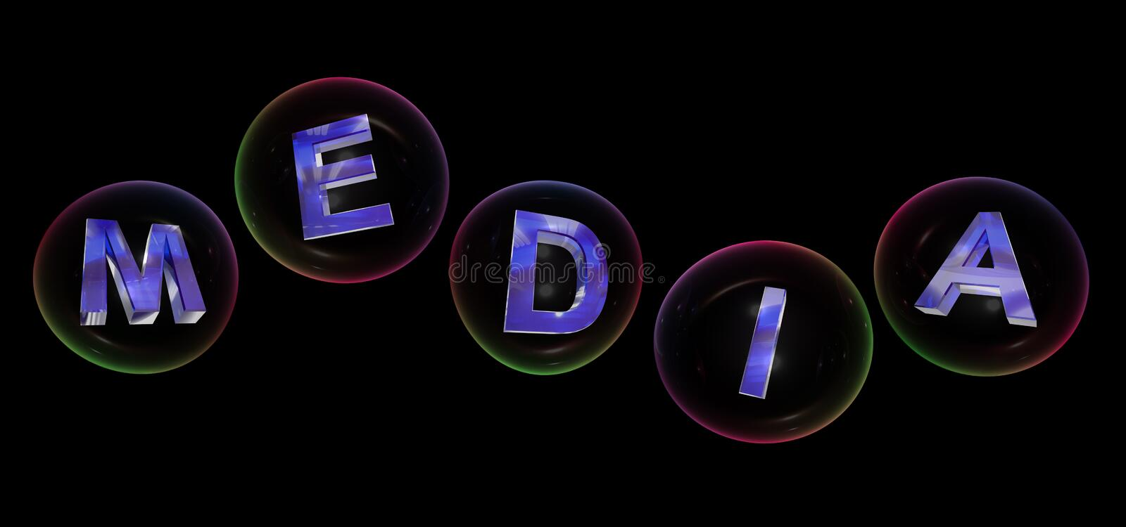 The media word in bubble. The media word in soap bubble on black background,3d rendered vector illustration