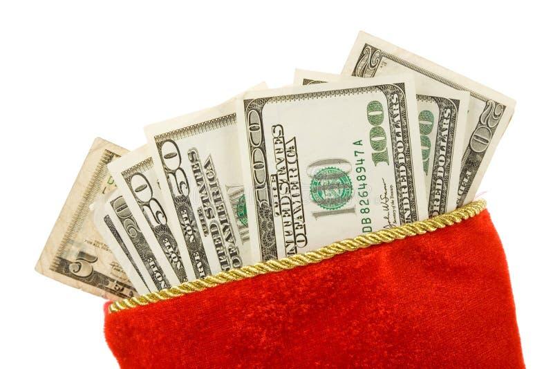 Media y dólares de la Navidad imagen de archivo libre de regalías