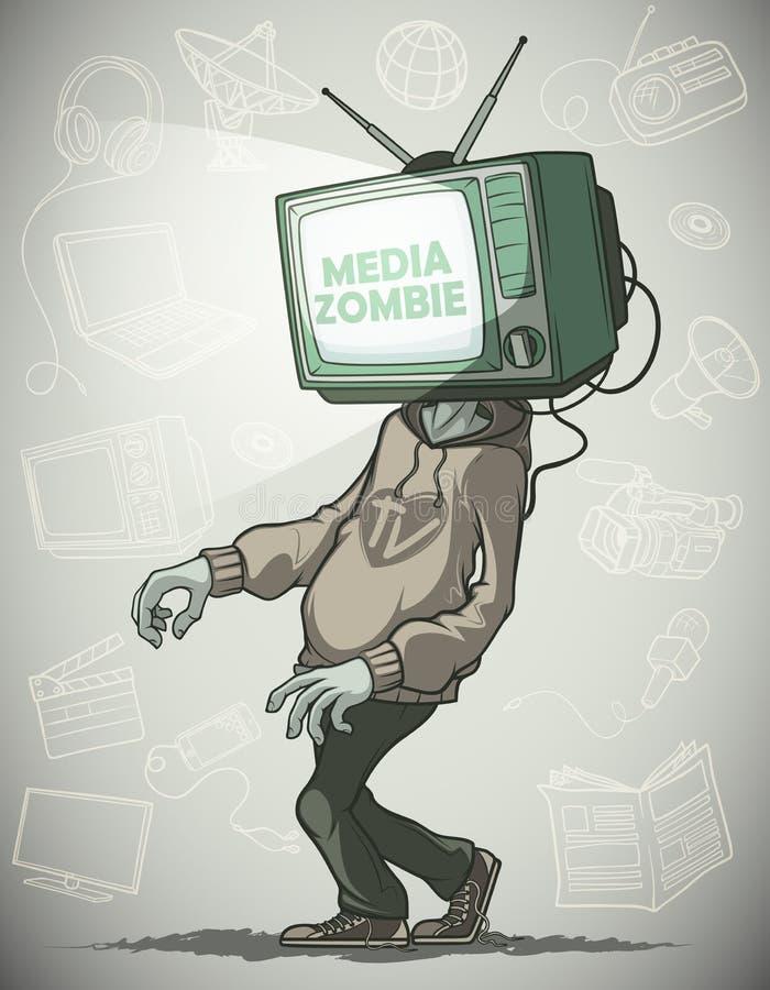 Media zombieën met een TV in plaats van een hoofd vector illustratie