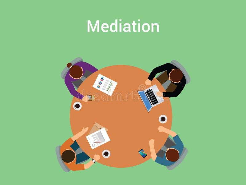 Mediaci ilustracyjny pojęcie członek drużyna, ludzie z mediatorem lub negocjuje o coś na stołowym biurko widoku od ilustracji