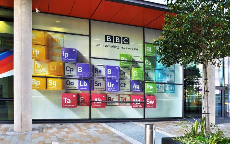 MediaCityUK TV- och radioutsändningscenter i Salford Quays royaltyfria bilder