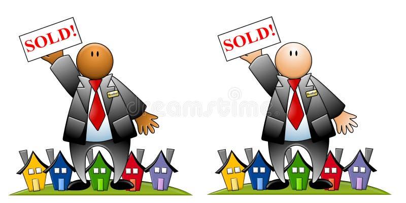 Mediador imobiliário com sinal e as casas vendidos ilustração do vetor
