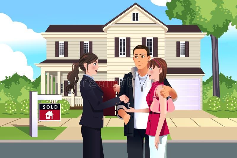 Mediador imobiliário na frente de uma casa vendida com seu cliente ilustração stock