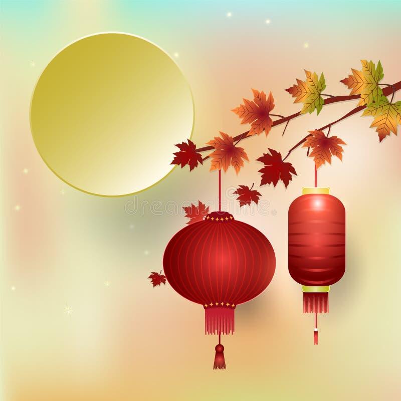 Mediados de otoño, festival de luna, fondo coreano de la acción de gracias del festival de Chuseok stock de ilustración