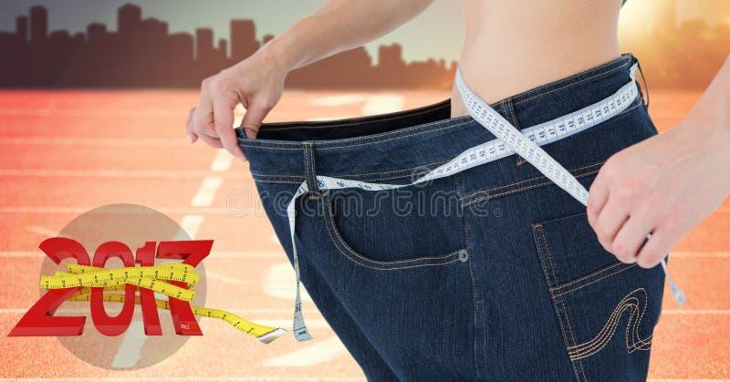 Mediados de sección de la mujer que mide su cintura contra 3D 2017 stock de ilustración