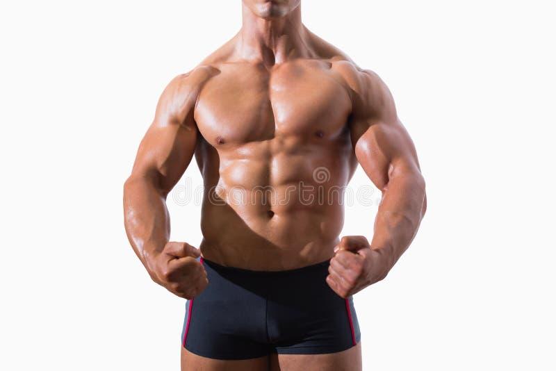 Mediados de sección de los puños de un apretón musculares del hombre joven imágenes de archivo libres de regalías