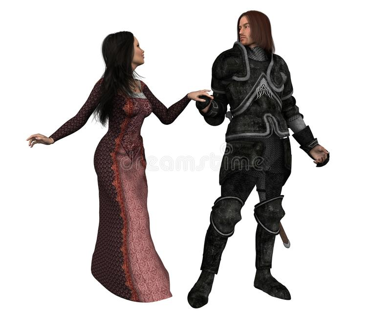 Mediaeval Knight And His Lady - Isolated Version Royalty Free Stock Photo