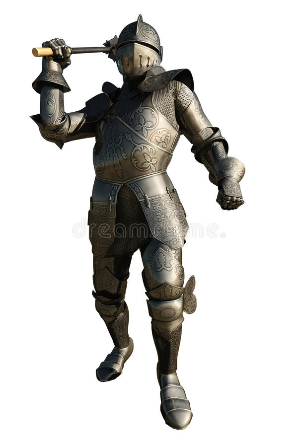 Mediaeval Knight with Mace. Medieval Knight in armour wielding a mace, 3d digitally rendered illustration royalty free illustration