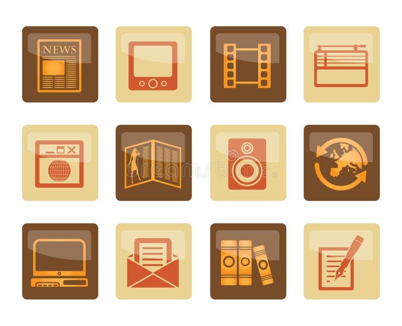 Medialne i ewidencyjne ikony nad brown tłem royalty ilustracja