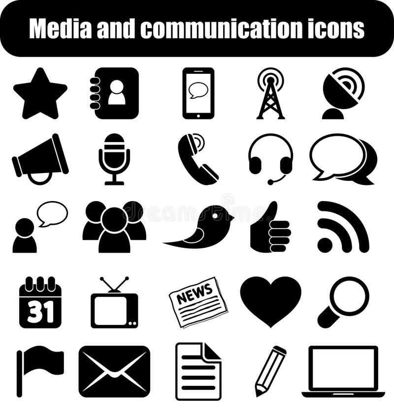 Medialne i komunikacyjne ikony ilustracji