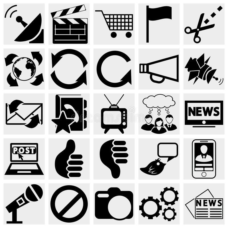 Medialne i komunikacyjne ikony. royalty ilustracja