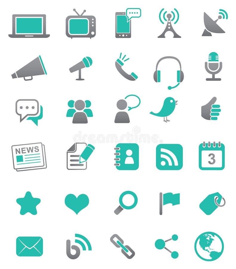 medialne komunikacyjne ikony ilustracji