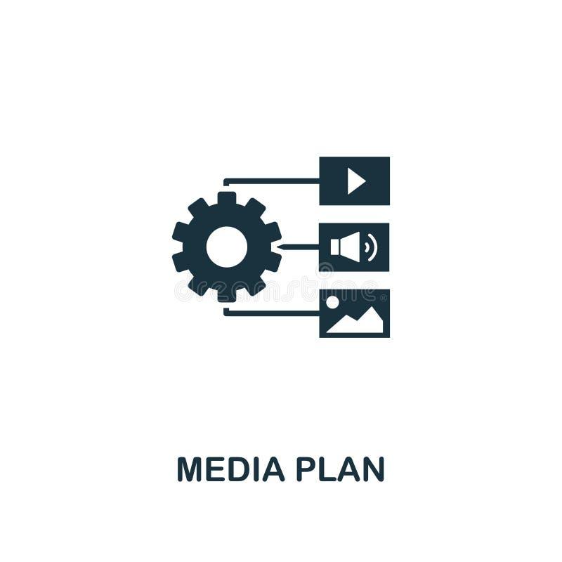 Medialnego planu ikona Kreatywnie elementu projekt od zadowolonych ikon inkasowych Piksel doskonalić Medialnego planu ikona dla s ilustracja wektor
