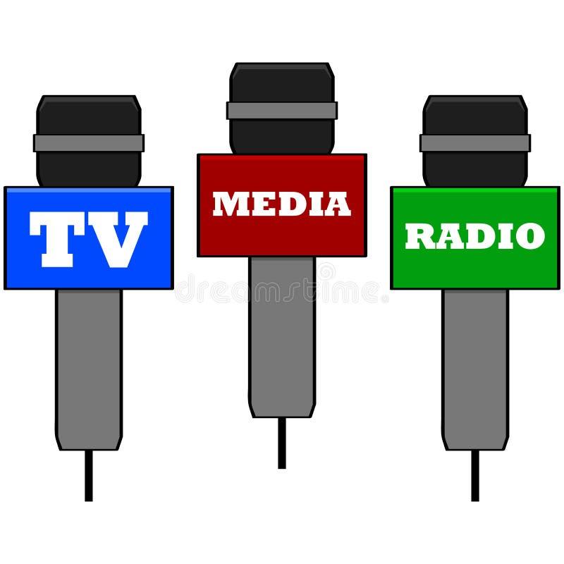 Medialni mikrofony ilustracji