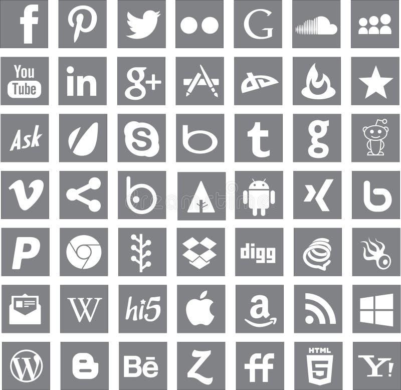 Medialni ogólnospołeczni networking apps logowie ilustracja wektor