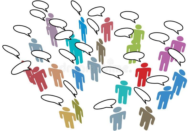 medialni spotkania sieci ludzie socjalny mowy ilustracja wektor