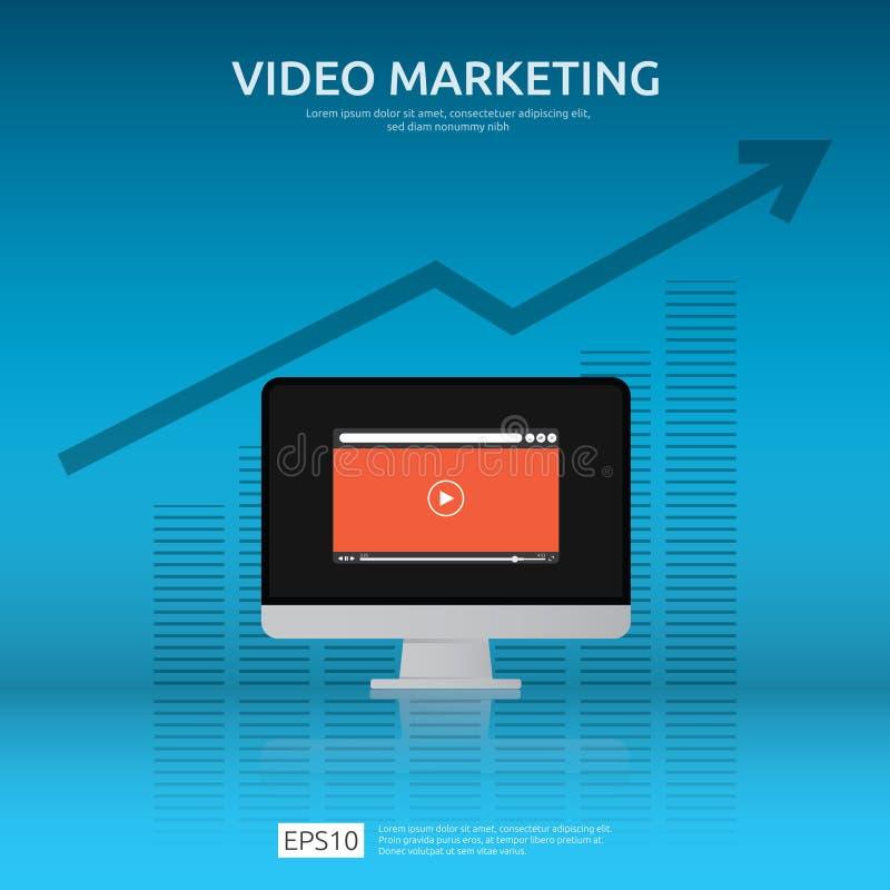 Medialny marketingowy pojęcie Robić pieniądze od wideo z ogólnospołeczną siecią Cyfrowej reklamowa promocyjna strategia online vl ilustracji